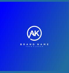 Letter ak logo design vector