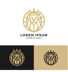 Lion king crown round circle emblem label logo vector