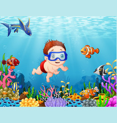 little boy diving in the sea vector image