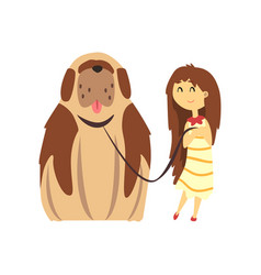 Little girl walking with big brown dog cute pet vector
