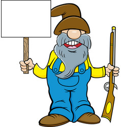 Man with a long beard holding a musket and a sign vector