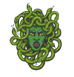 Medusa greek myth creature color sketch engraving vector