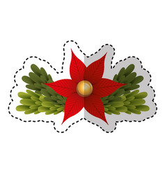 merry christmas floral decorative card vector image