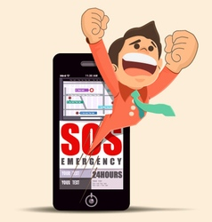 Mobile phone with SOS emergency application vector image