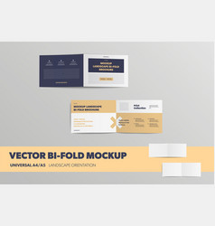 mockup open bifolds front and back universal vector image