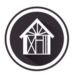 monochrome circle pictogram with house vector image