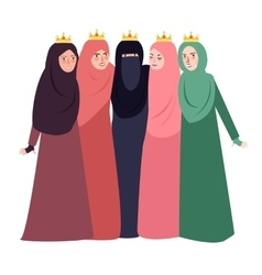 Muslim woman wearing veil together people and vector