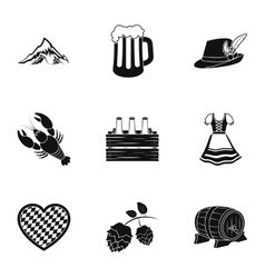 Oktoberfest set icons in black style Big vector