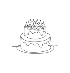 one single line drawing fresh delicious home vector image