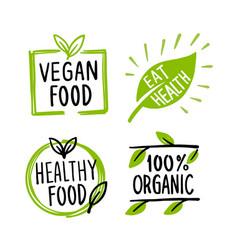 organic labels fresh eco vegetarian emblems and vector image