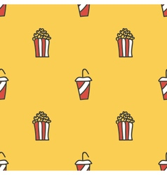 Popcorn and soda seamless pattern background vector image