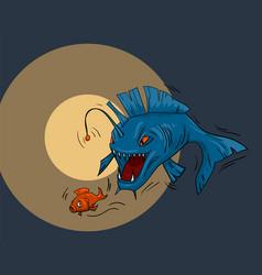 Predatory fish monster underwater hunting cool vector