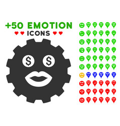 Prostitute smiley gear icon with bonus mood vector