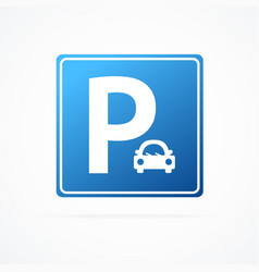 realistic detailed 3d blue parking sign with car vector image