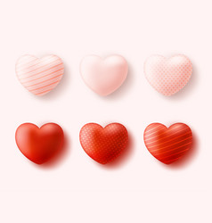 red hearts collection set four realistic vector image