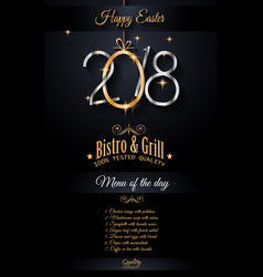 restaurant menu template for 2018 easter lunch or vector image