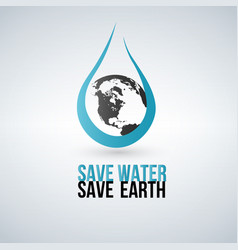 save water concept water drop and earth vector image