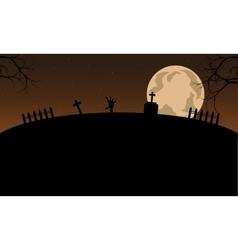 Scenery halloween and full moon vector