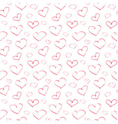 seamless pattern abstract red hearts on a white vector image