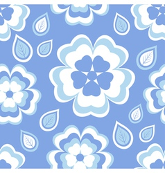 Seamless pattern blue with sakura blossom vector