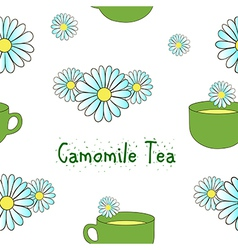 Seamless pattern camomile tea vector