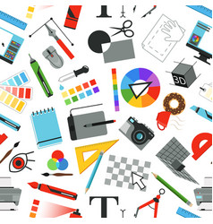 seamless pattern with different work tools for vector image
