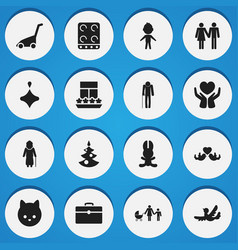 Set of 16 editable folks icons includes symbols vector