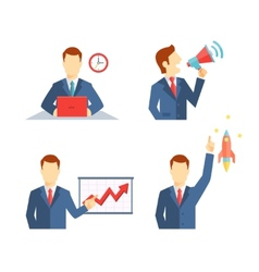 Set of businessman icons in flat style vector