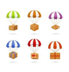 Set of Colorful Parachute Carrying Boxes vector image
