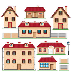 Set of houses in retro style vector