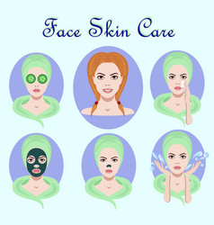 Set of icons with facial skin treatment vector