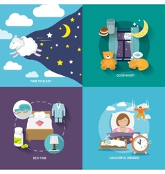 Sleep time icons flat vector