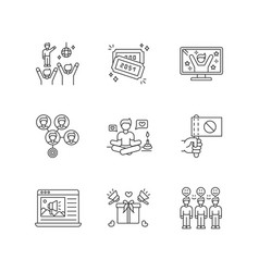 social media promotion pixel perfect linear icons vector image