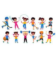 sport kids children with sports attributes boys vector image