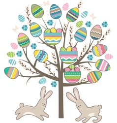 Stylized tree with rabbits isolated on white vector