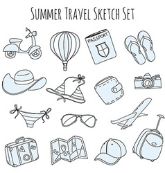 Summer vacation sketch doodle set vector image