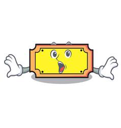 surprised ticket mascot cartoon style vector image