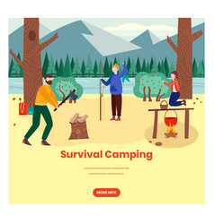 survival camping web banner design template vector image