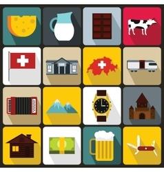 Switzerland Icons set flat style vector