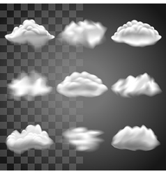 Transparent clouds icons set vector