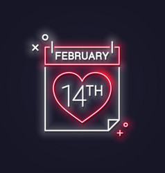 valentines day neon calendar february 14 th date vector image