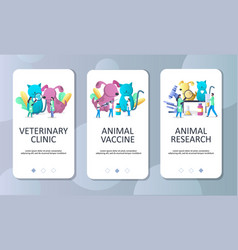 Veterinary clinic mobile app onboarding screens vector