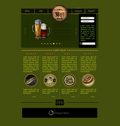 web site template with beer vector image