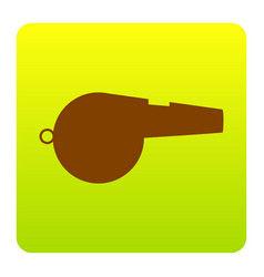 whistle sign brown icon at green-yellow vector image