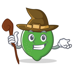 Witch lime mascot cartoon style vector