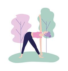 Woman doing yoga posture balance vector