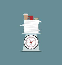 work and coffee overtime on scale vector image