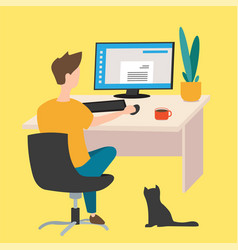 work at home freelancer young man working on vector image