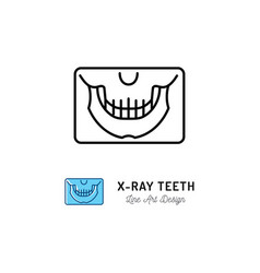 X-ray teeth icon panoramic radiograph jaw vector