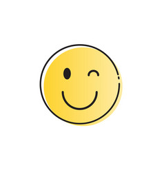 Yellow smiling cartoon face positive people vector